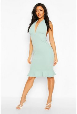 Blue Plunge Fishtail Midi Dress