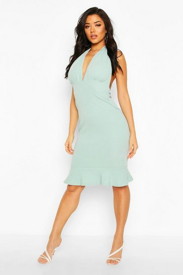 Womens Blue Plunge Fishtail Midi Dress