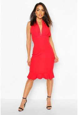 Womens Red Plunge Fishtail Midi Dress