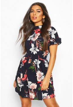 Womens Navy Floral Skater Dress
