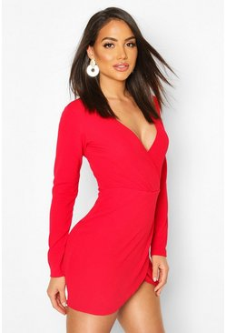 Womens Red Wrap Front Mini Dress