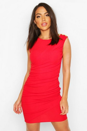 Womens Red Pleated Shift Dress
