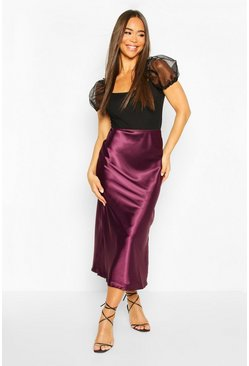 Womens Plum Bias Cut Midi Skirt