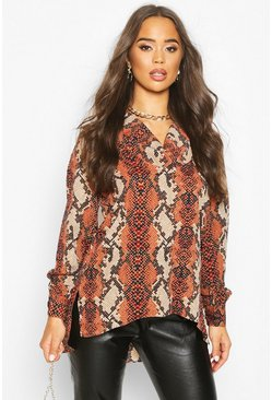 Womens Rust Snake Print Blouse