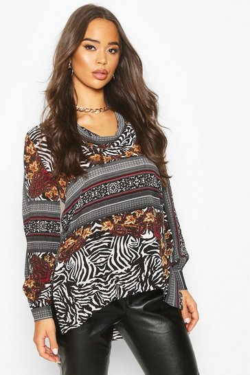 Womens Multi Animal Print Blouse