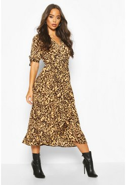 Womens Stone Printed Midi Dress