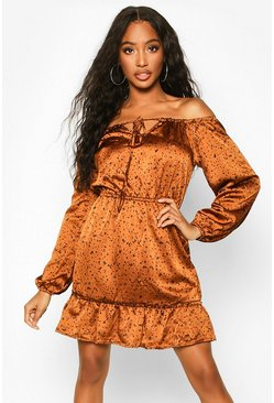 Off Shoulder Satin Skater, Rust