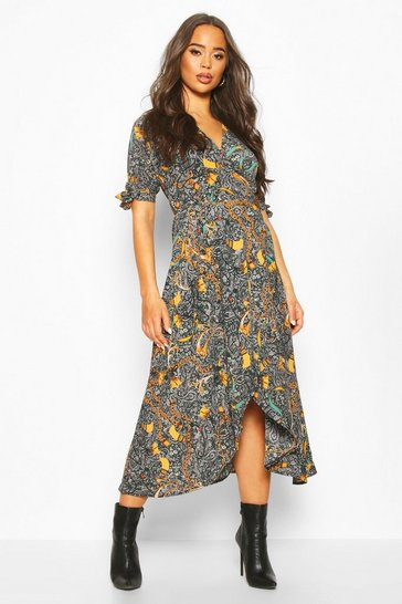 Womens Multi Printed Midi Dress