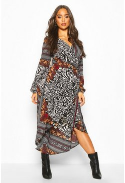 Womens Multi Animal Maxi Dress