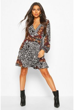 Womens Multi Animal Wrap Skater Dress