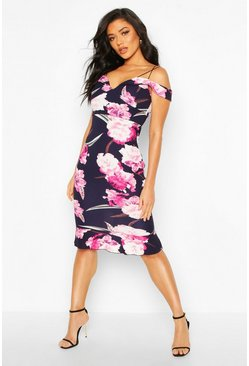Womens Navy Floral Midi Dress