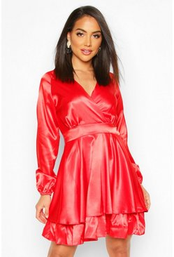 Mens Red Satin Frill Skater Dress