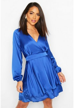 Womens Blue Satin Frill Skater