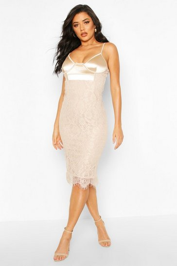 Womens Mushroom Satin And Lace Mix Midi Dress