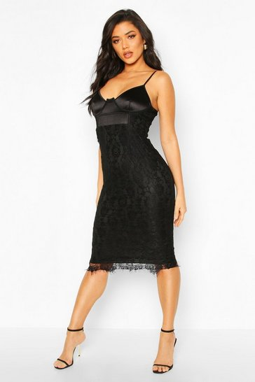 Womens Black Satin And Lace Midi Dress