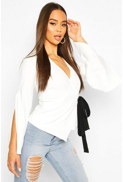 Ivory Tie Side Contrast Top