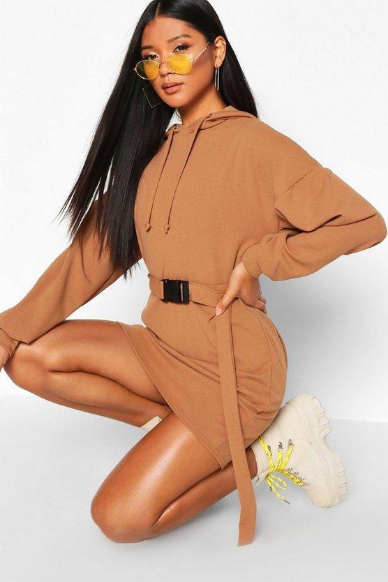Premium Belted Oversized Hoodie Dress by Boohoo