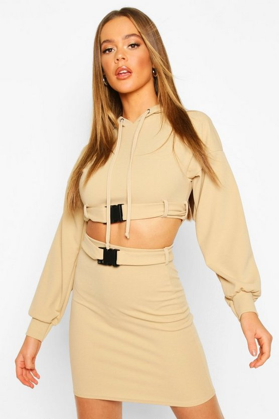 Biscuit Buckle Hoodie Detail Mini Skirt Set