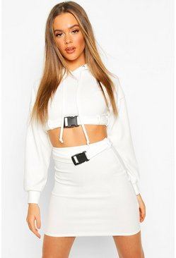 Cream Buckle Hoodie Detail Mini Skirt Set