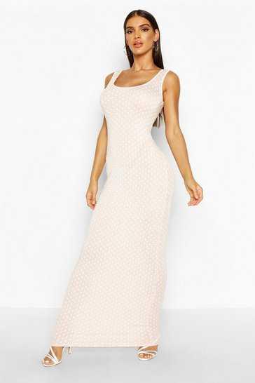 Womens Blush Polka Dot Maxi Dress