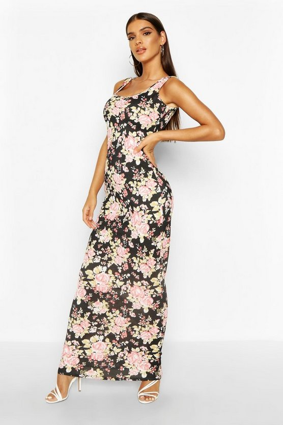 Womens Blue Ditsy Floral Maxi Dress