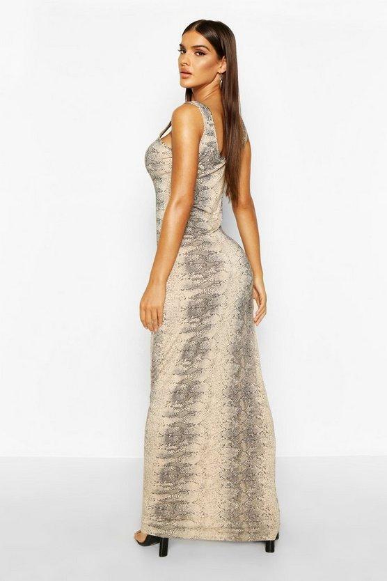 Natural Snake Print Maxi Dress