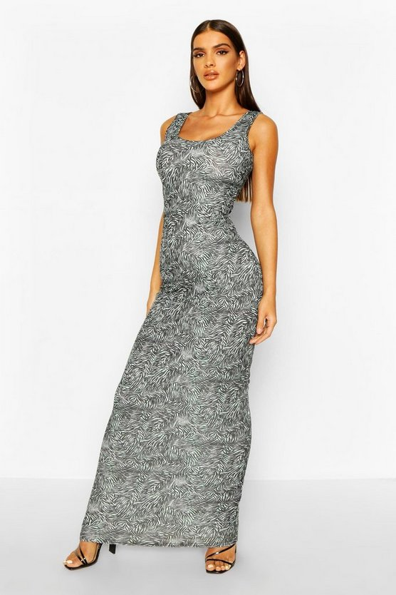 Womens Jade Zebra Print Maxi Dress