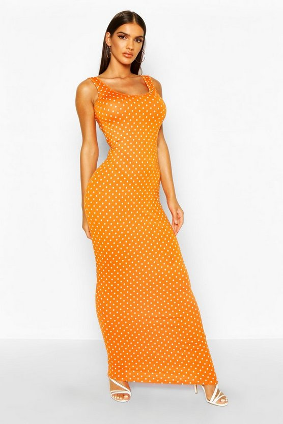 Womens Orange Polka Dot Maxi Dress