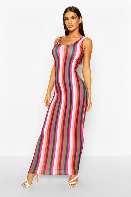 Pink Striped Maxi Dress, FEMMES
