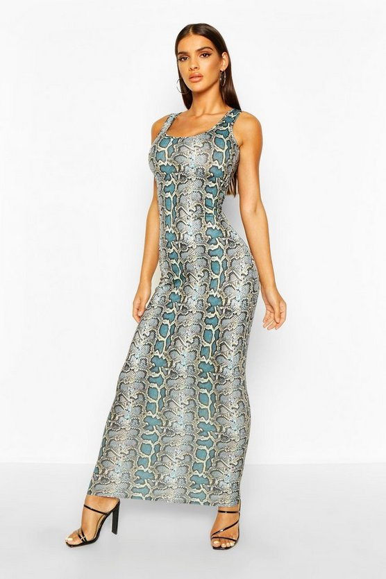 Womens Blue Snake Print Maxi Dress