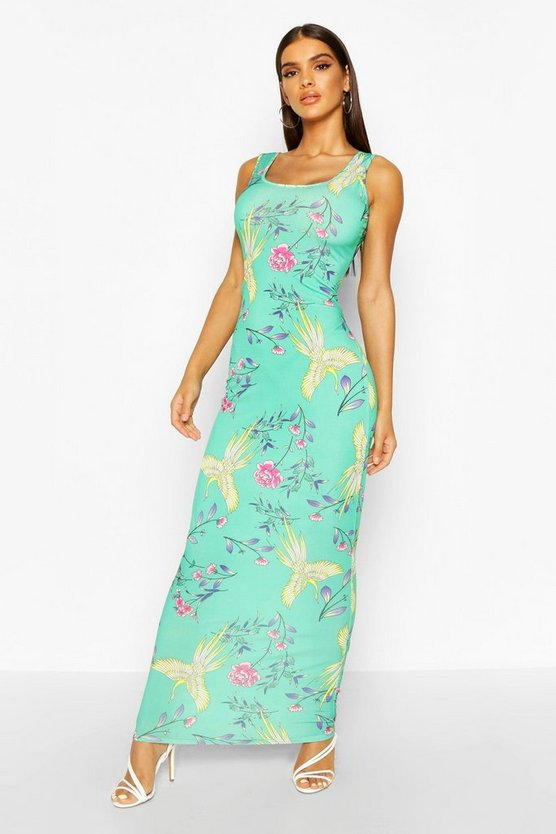 Womens Green Floral Maxi Dress