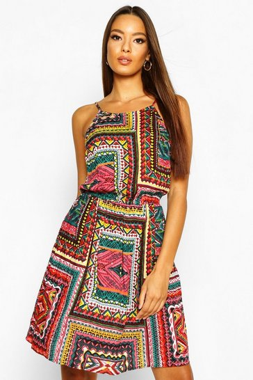 Womens Orange Boho Tile Print Sundress