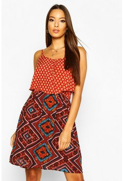 Womens Orange Woven Strappy Mixed Print Sundress