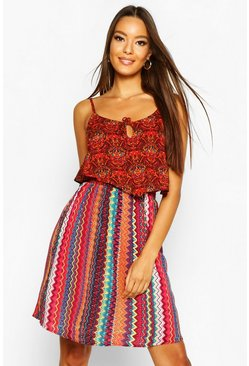 Womens Red Woven Strappy Aztec Print Sundress