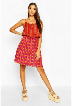 Womens Red Woven Boho Mix Print Sundress