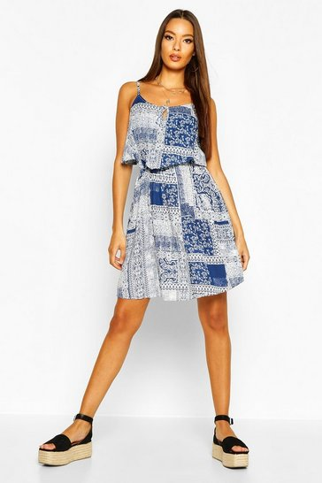 Womens Blue Woven Tile Print Strappy Sundress