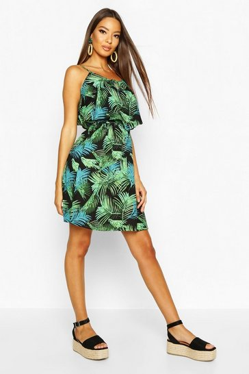 Womens Green Woven Palm Print Strappy Sundress