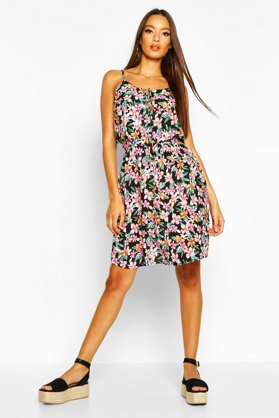 Black Woven Floral Print Strappy Print Sundress
