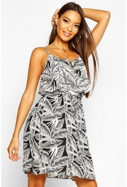 Womens Black Woven Mono Palm Print Sundress