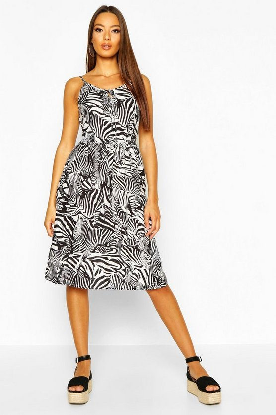 Womens Black Woven Zebra Print Strappy Sundress