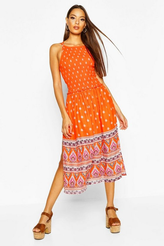 Orange Woven Shirred Strappy Border Print Sundress