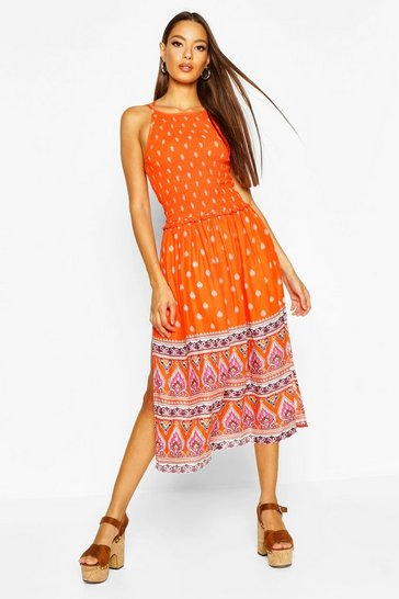 Womens Orange Woven Shirred Strappy Border Print Sundress