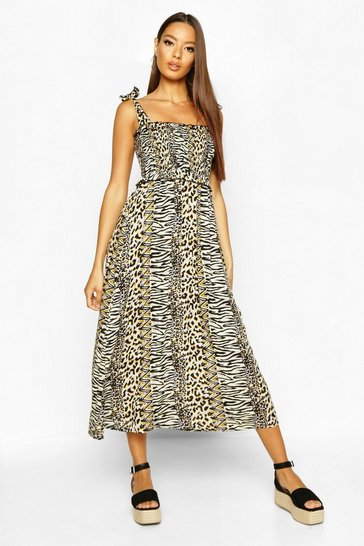 Womens Ecru Woven Leopard Print Shirred Sundress