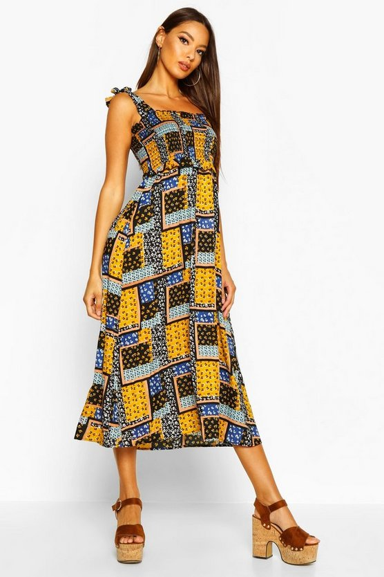 Womens Mustard Woven Patch Work Print Shirred Sundress
