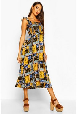 Dam Mustard Woven Patch Work Print Shirred Sundress