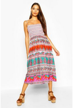 Womens Red Woven Aztec Print Shirred Sundress