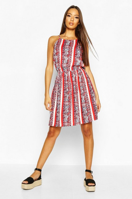 Womens Red Boho Paisley Print Strappy Sundress