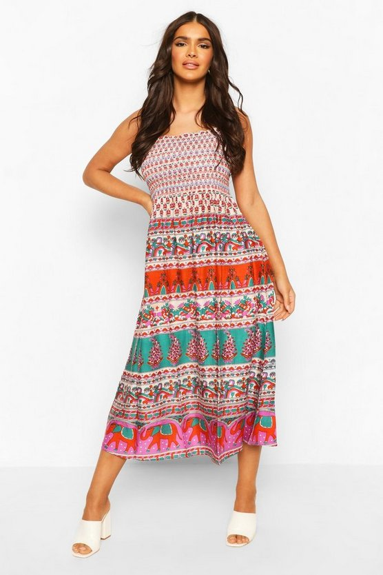 Red Woven Shirred Strappy Elephant Print Sundress