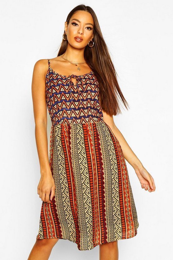 Womens Red Geo Print Strappy Sundress