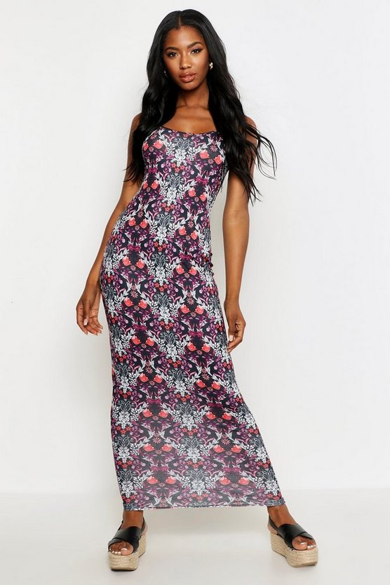 Womens Black Paisley Maxi Dress